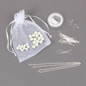 Pearl Bead Bundle with Findings, Chain and Elastic