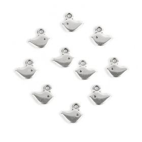 Antique Silver Zamak Small Bird Charm 5x8mm Pk10