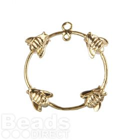 Gold Plated Ring with Wasps 2 Loops at Top 23mm Pk1