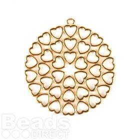 Gold Plated Zamak Round Charm with Hollow Hearts 46mm Pk1