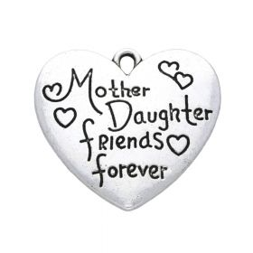 Mother Daughter friends forever / heart / pendant / 28x30x2.5mm / silver / 1pcs