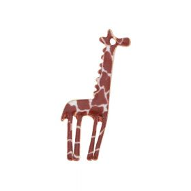 SweetCharm ™ Giraffe / pendant charms / 33.5x15x1.5mm / gold plated / brown / 2pcs