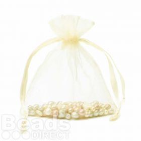 "Pale Yellow Organza Bag 5""x6.5"" Pack 5"