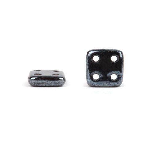 CzechMates QuadraTile 4 Hole 6mm Hematite 10g