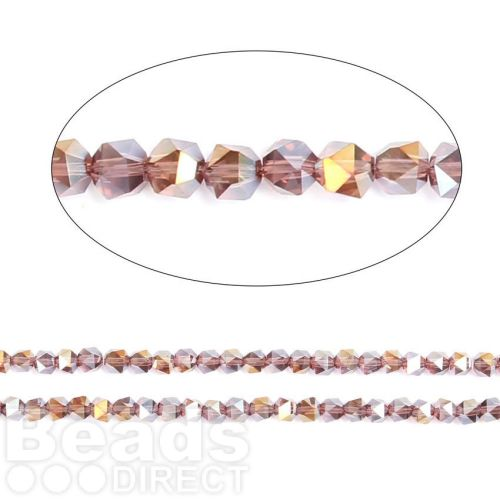 """Light Amethyst AB Essential Crystal 6mm Faceted Hexagon Beads 20"""" Strand"""