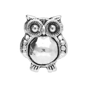 Owl / spacer / 19x15x14mm / silver / hole 10x7mm / 1pcs