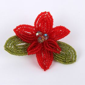 Red and Gold Christmas French Beaded Flower Brooch TAMB Kit - Makes x1