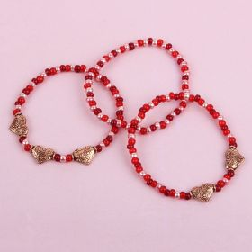 Ruby Beaded Heart Bracelet Kit