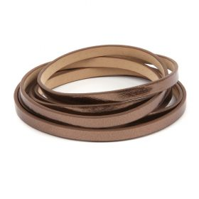Chocolate Gold Metallic Faux Leather Flat Cord 6mm Pre Cut 1metre