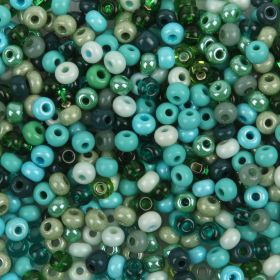 Preciosa Round Seed Bead Mix Size 6 Green/Turquoise 50g