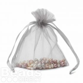 "Silver Organza Bag 5""x6.5"" Pack 5"