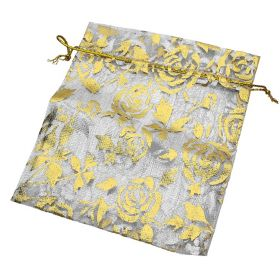 Organza bag / 10x12cm / grey with gold roses / 5pcs