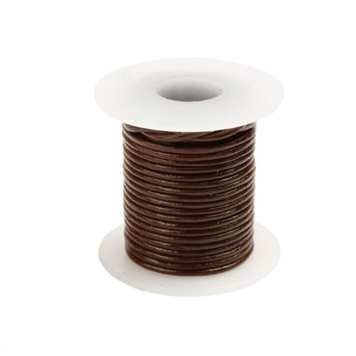 X Brown Round Leather Cord 1mm 5Metre Reel