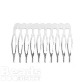 Silver Plated Hair Comb 50mm Pk2
