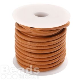 Tan Round Leather 3mm Cord 5 Metre Reel