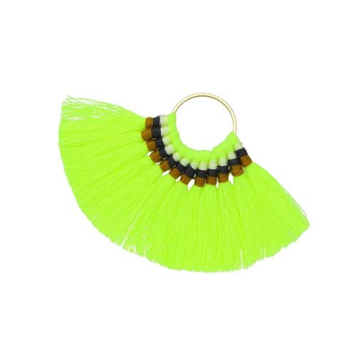 Fan tassel / viscose thread / round base / 55mm / neon yellow / 1pcs