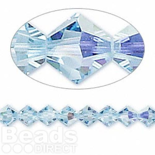5328 Swarovski Crystal Bicones Xillion 6mm Aquamarine AB Pk24