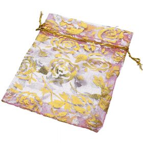 Organza bag / 10x12cm / pink with gold roses / 5pcs