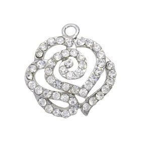 Glamm ™ Rose / charm pendant / with zircons / 21x20x5mm / silver plated / 1pcs