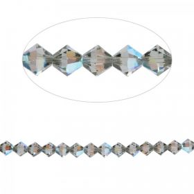 5328 Swarovski Crystal Bicone Beads 4mm Black Diamond Shimmer Pk24