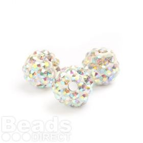 Clear AB Round 8mm Essential Shamballa Fashion Bead Pk3