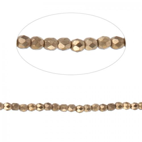 X Preciosa Czech Fire Polished Beads 4mm Frosted Bronze Pk100