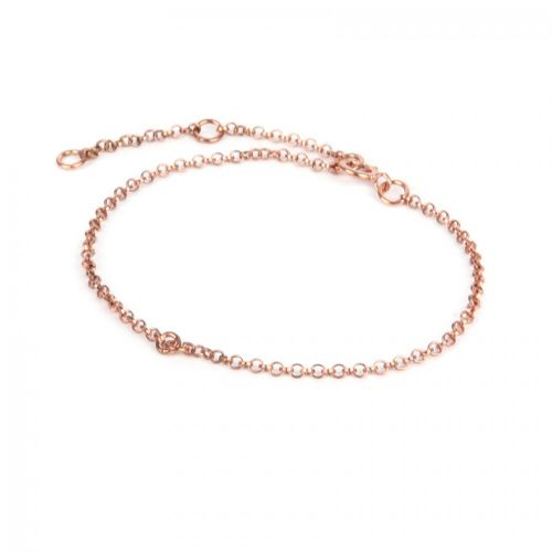 X Rose Gold Plated Sterling Silver 925 Connector Chain Bracelet Adjust 14-18cm