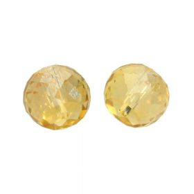 CrystaLove™ crystals / glass / faceted round / 6x8mm / tea / transparent / iridescent / 6pcs