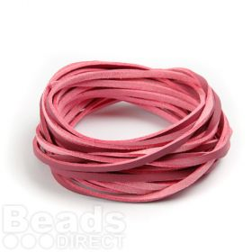 Double Sided Leather/Suede 3mm Flat Cord Fuchsia/Pink 5m