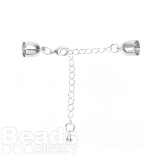 Silver Plated Cord Ends, Extension Chain & Lobster Clasp 9mm Pk1