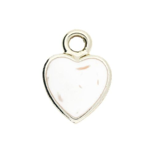 SweetCharm ™ Heart / pendant / 14x11x0.5mm / gold plated / cream inlay / 2pcs