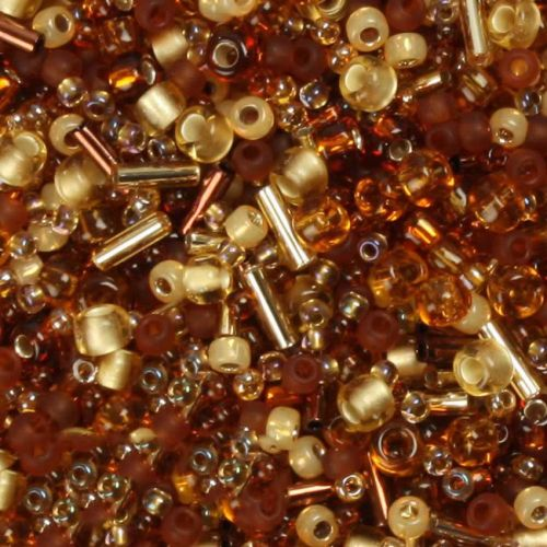 'Amber Burst' Seed Bead Mix Assorted Sizes/Shapes 10g