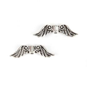 Silver Tone Angel Wing Charms Spacer Beads 7x23mm Pk50