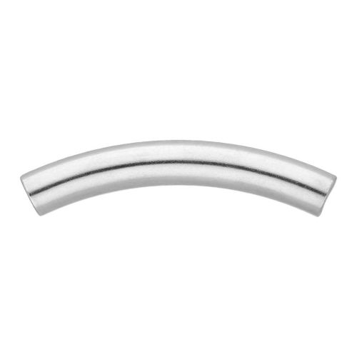 Curved tube bead / surgical steel / 40mm / hole 3mm / silver / 4pcs
