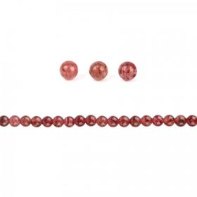 Strawberry Quartz Semi Precious Round Beads 4mm Pack of 20