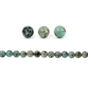 African Turquoise A Grade Semi Precious Round Beads 8mm Pk20