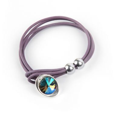 Violet Leather Gem Bracelet