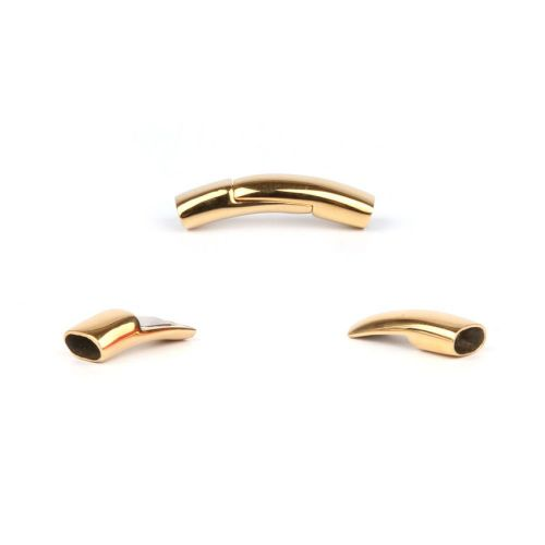 Gold Plated Stainless Steel Magnetic Flat Curved Clasp 6x3.5mm Pk1