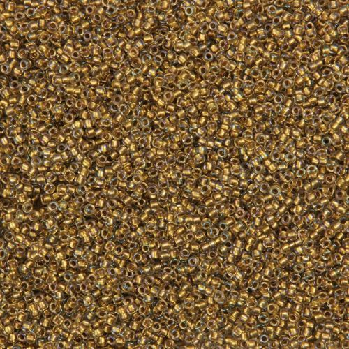 X- Toho Size 15 Round Seed Beads Gold Lined Topaz Inside Colour Crystal 10g