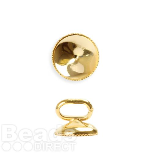 Gold Plated SS39(8mm) Slider Charm Holder 9mm with Faceted Edge Pk1
