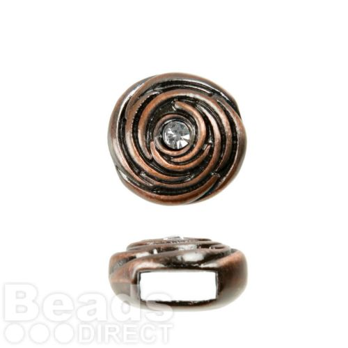 Copper Tone Slider Charm Bead Rose Design with Clear Crystals 12mm Pk1