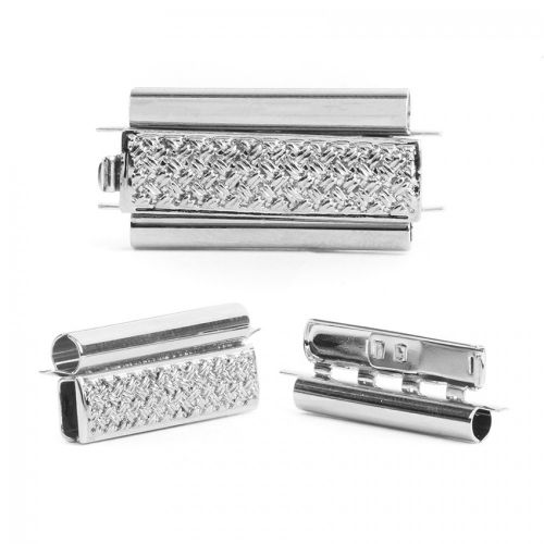 Rhodium Plated Beadslide Clasp Cross Hatch Design 13x24mm Pk1