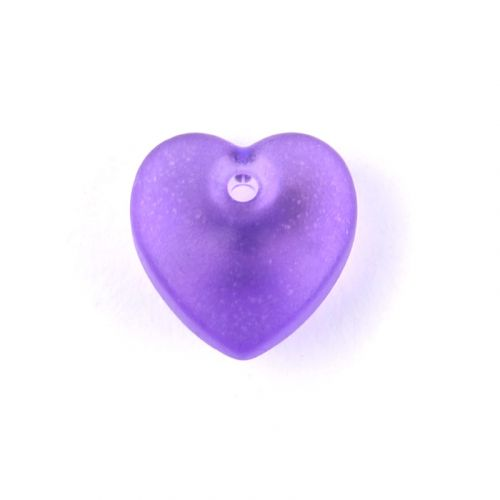 X Preciosa Pressed Glass Hearts Frosted Purple 10mm Pk10