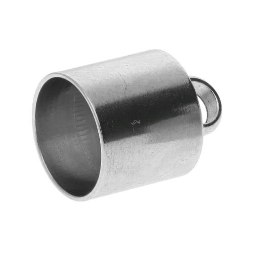 End cap / surgical steel / 15x11x11mm / silver / hole 10mm / 2pcs