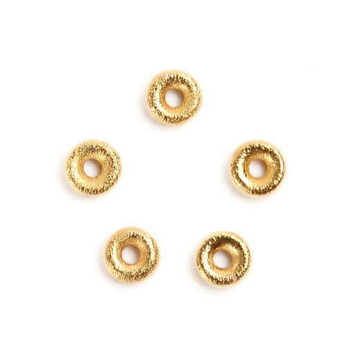 """X"" Gold Plated Diamond Cut Spacer Beads 7mm with 3mm Inner Pk5"