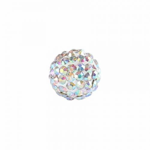 """X"" Clear AB Crystal 8mm Premium Shamballa Fashion Round Pk1"