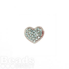 Silver Plated Slider Charm Bead Blue Crystal Heart 11x13mm Pk1