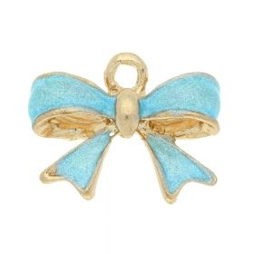 SweetCharm™ Bow / charms pendant / with cubic zirconia / 12x16x5mm / gold plated / turquoise / 2pcs