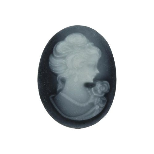 Cameo / cabochon / oval / 13x18mm / black-grey / 4pcs