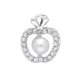 Glamm ™ Apple with pearl / charm pendant / 20 zircons / 16x13x7mm / silver / 1pcs